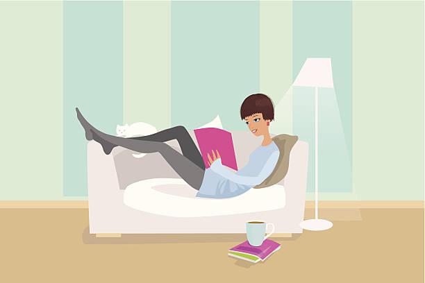 stockillustraties, clipart, cartoons en iconen met woman reading on sofa - woman home magazine