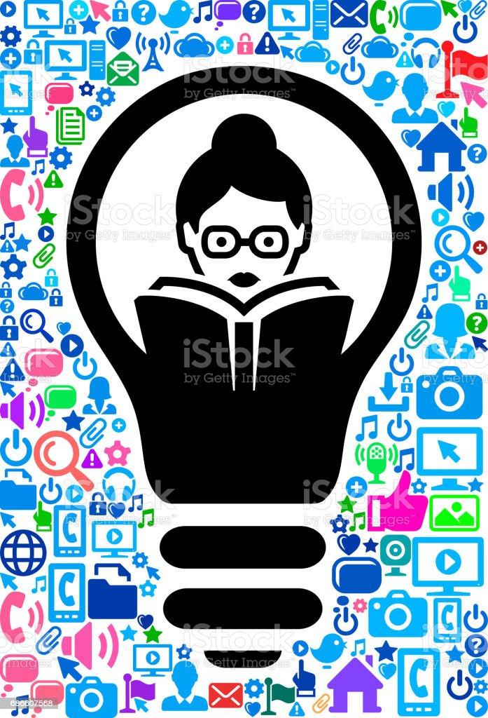 Frau liest Technologie Web Vector Hintergrundmuster Lizenzfreies frau liest technologie web vector hintergrundmuster stock vektor art und mehr bilder von akte