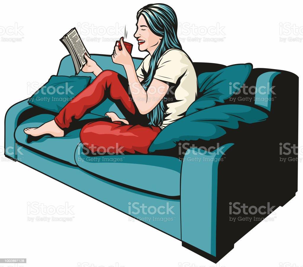 Woman Reading vector art illustration