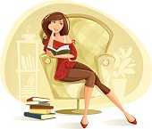 Illustration of the woman reading a book.  Woman, chair and background are grouped layered separately.