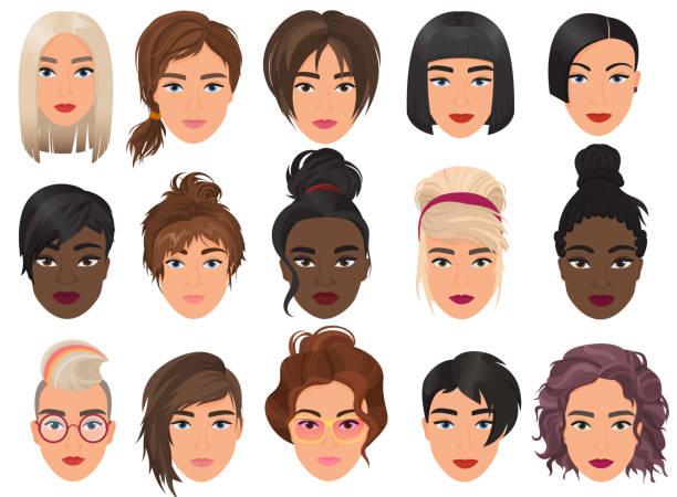 ilustraciones, imágenes clip art, dibujos animados e iconos de stock de avatar detallado realista mujer conjunto ilustración vectorial. retrato femenino de hermosas niñas con diferentes peinado aislado. - peinado