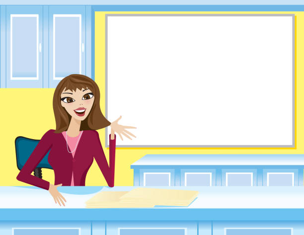 Woman Receptionist at desk, talking vector art illustration