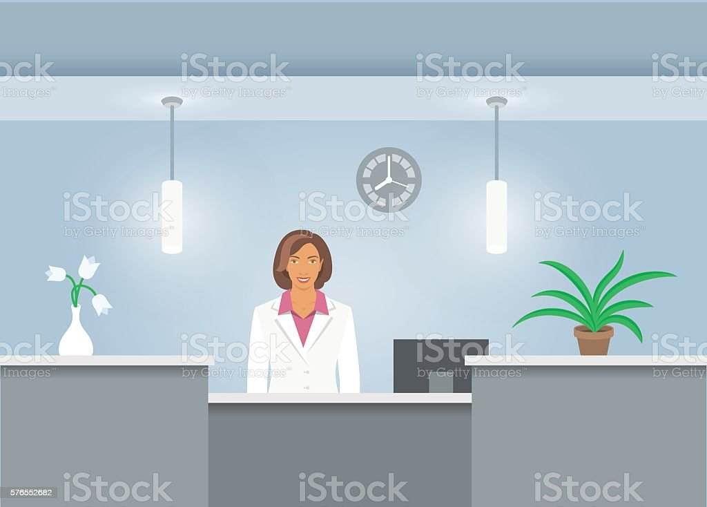 Woman receptionist in medical coat at reception desk in hospital - ilustración de arte vectorial