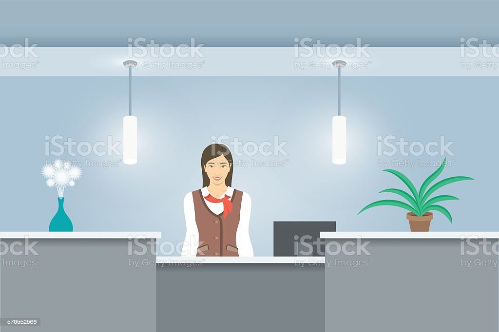 Woman receptionist in uniform stands at reception desk front view vector art illustration