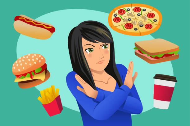 Woman Refusing Fast Food Temptation Illustration vector art illustration