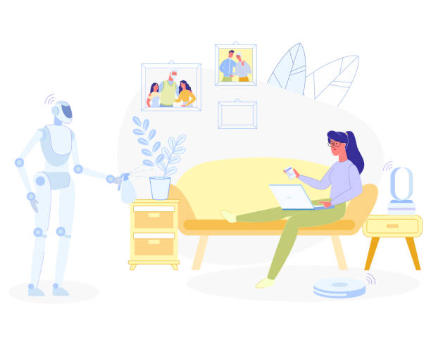 frau entspannen zu hause roboter doing household works - funktionssofa stock-grafiken, -clipart, -cartoons und -symbole