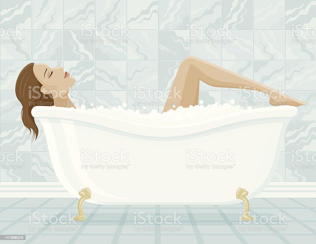 Woman Relaxing in a Bubble Bath vector art illustration