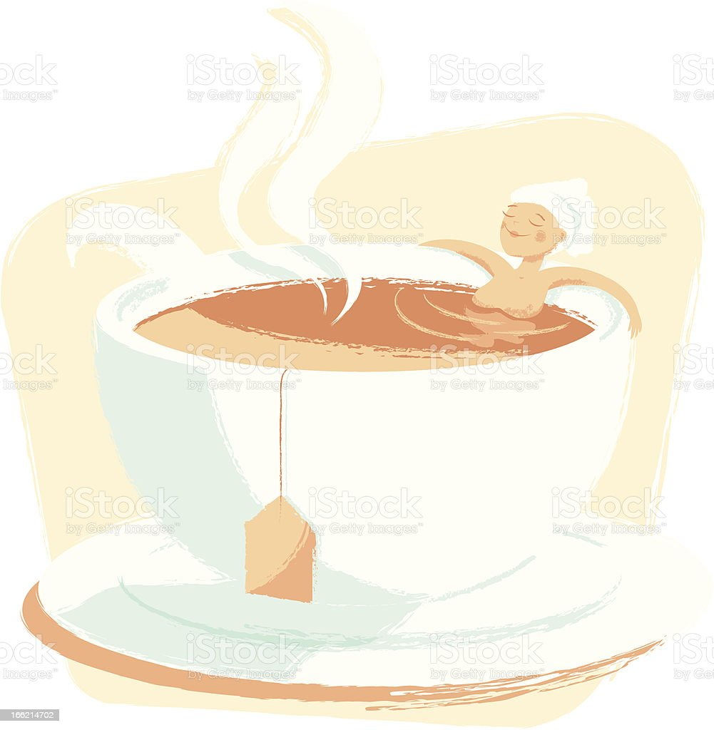 Woman relaxing in a cup of tea royalty-free stock vector art