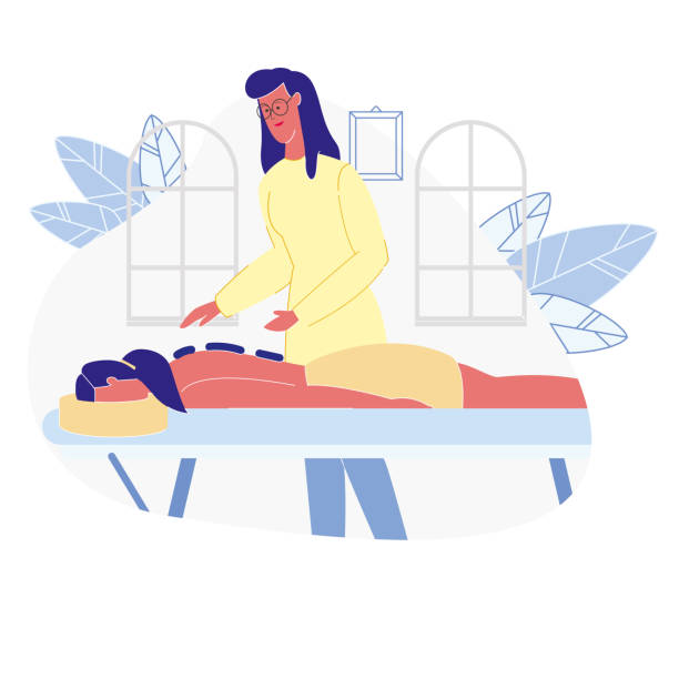 woman relaxing in spa flat vector illustration - massage stock illustrations