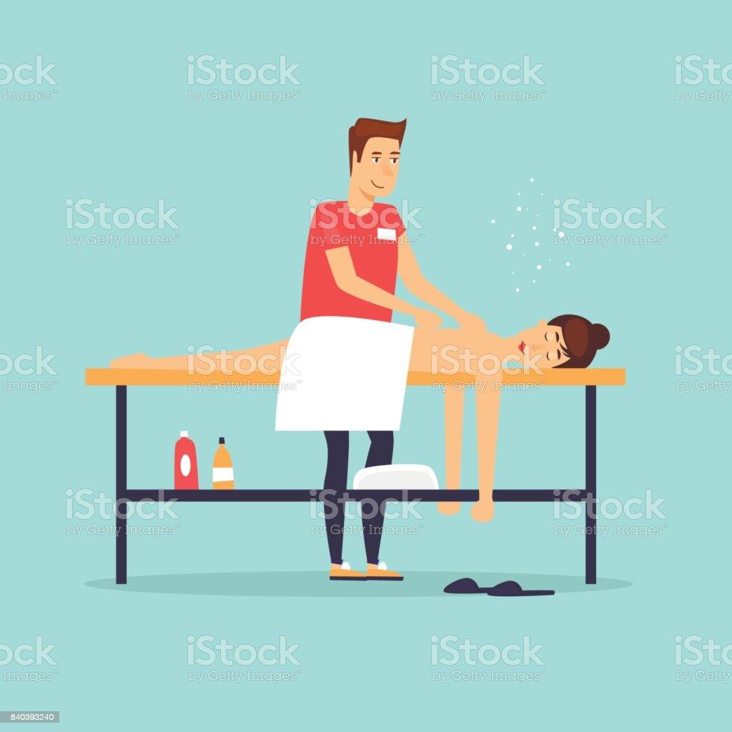 Woman relaxing on massage table. Male masseur. Flat design vector illustration. vector art illustration