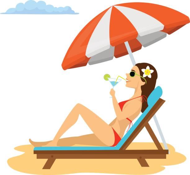 entspannen sie sich auf dem liegestuhl unter sonnenschirm im urlaub, frau sonnenbaden, cocktail trinken. sommerspaß - sonnenstuhl stock-grafiken, -clipart, -cartoons und -symbole