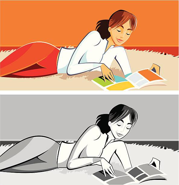 stockillustraties, clipart, cartoons en iconen met woman relaxing - woman home magazine