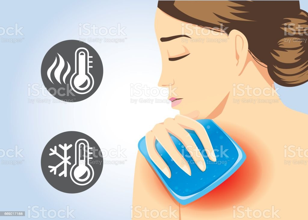 Woman relief of shoulder pain with Cold and hot pack gel. vector art illustration
