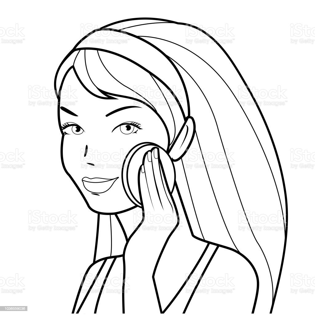 Woman removes her makeup. Black and white coloring book page