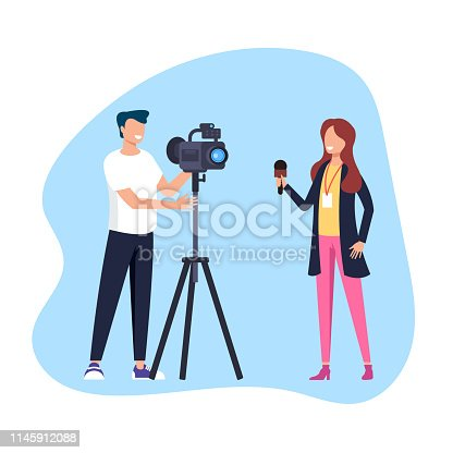 Woman reporter journalist making reportage. Social media TV show concept. Vector flat cartoon graphic design