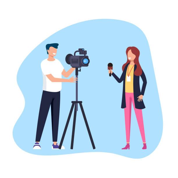 Frau reportiert Reportage. Social Media TV-Showkonzept. Vector flacher Cartoon-Grafikdesign-Illustration – Vektorgrafik