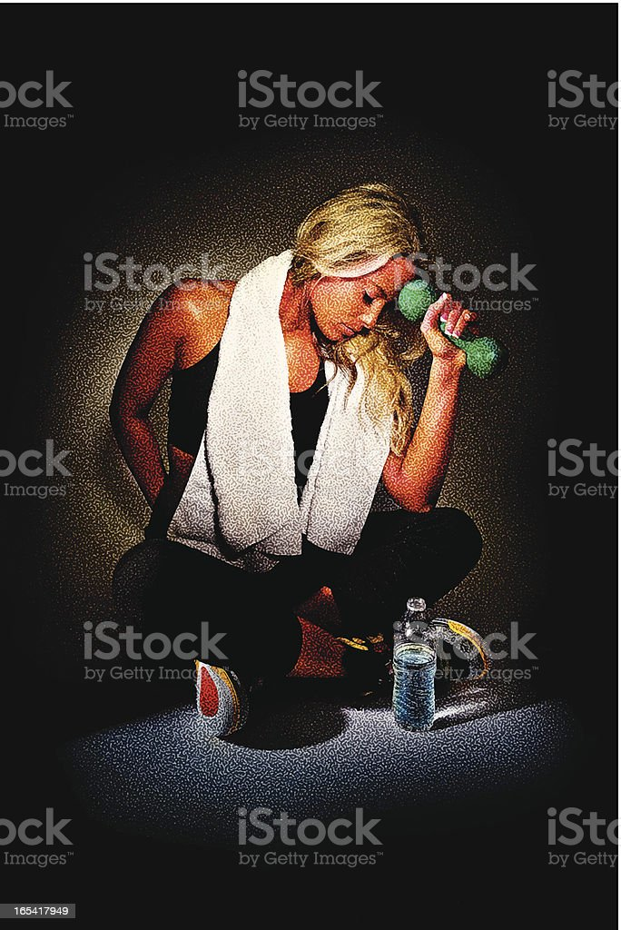 Woman Resting After Workout royalty-free woman resting after workout stock vector art & more images of 20-24 years