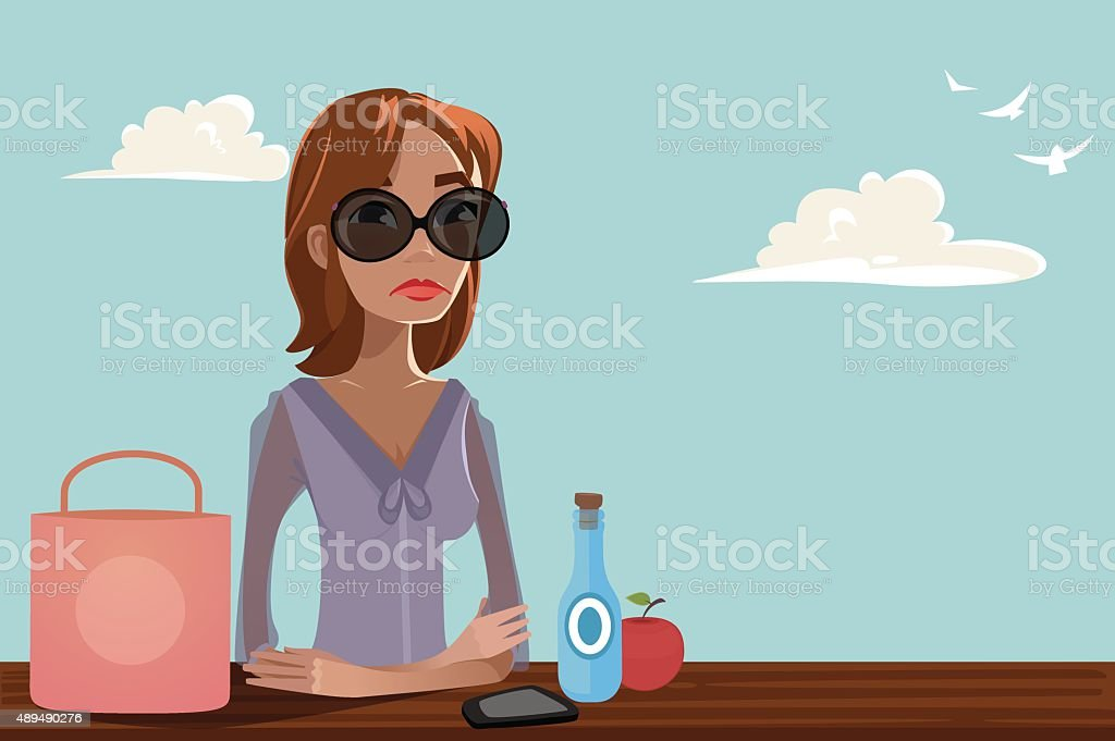 Woman resting in a park vector art illustration
