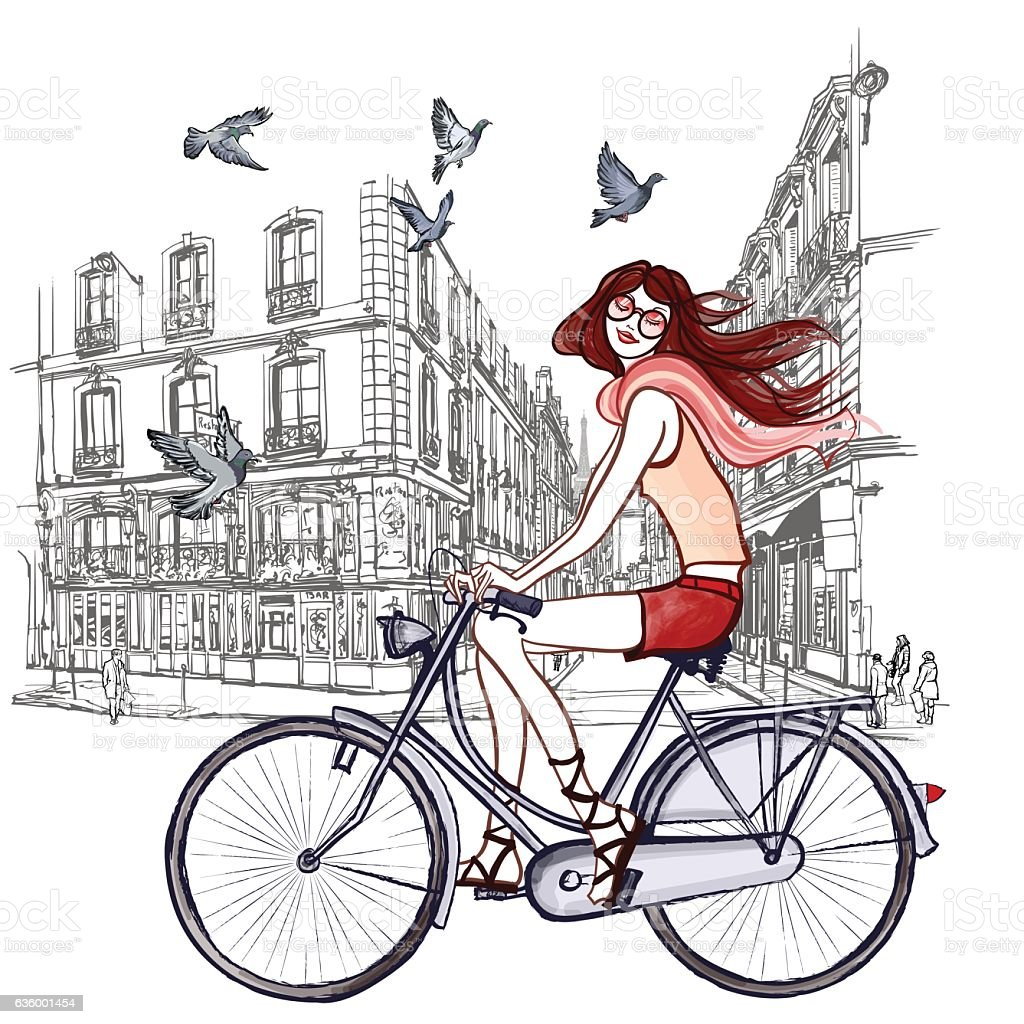 woman riding a bicycle in Paris vector art illustration
