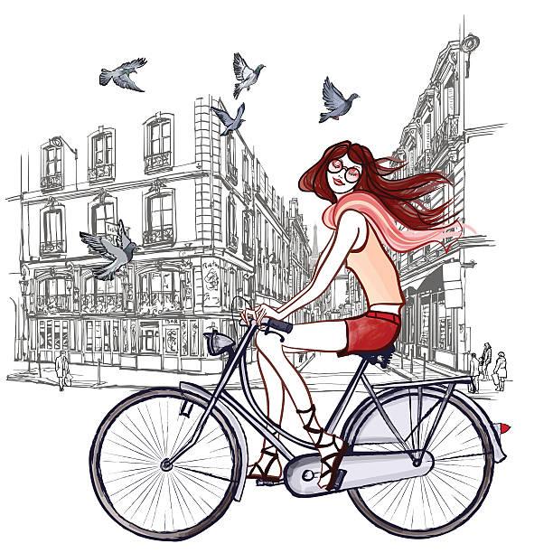 ilustrações, clipart, desenhos animados e ícones de mulher em uma bicicleta em paris - moda parisiense