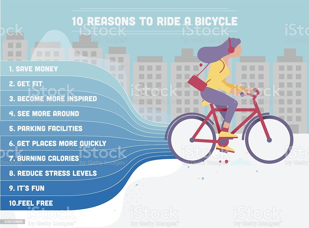 Woman riding a bike in the city vector art illustration