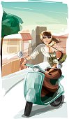 Illustration of a young woman riding a scooter. Woman and background are grouped layered separately.