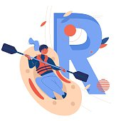 Woman riding down large letter R on rafting boat. Concept sport illustration about healthy lifestyle and extreme activities.