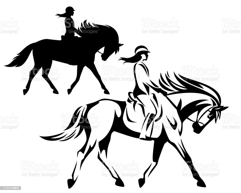 Woman Riding Horse Black Vector Outline And Silhouette Stock Illustration Download Image Now Istock