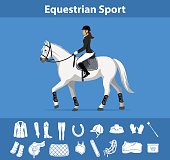 Woman Riding Horse in show outfit. Equestrian Sport English Equipment Icons Set