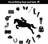 Woman Riding Horse Silhouette. Equestrian Sport Equipment Icons Set