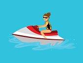 Woman riding jet ski vector illustration
