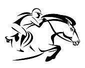 woman riding jumping horse vector design