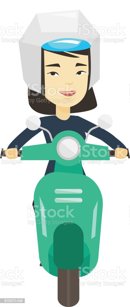 Woman riding scooter in the city vector art illustration