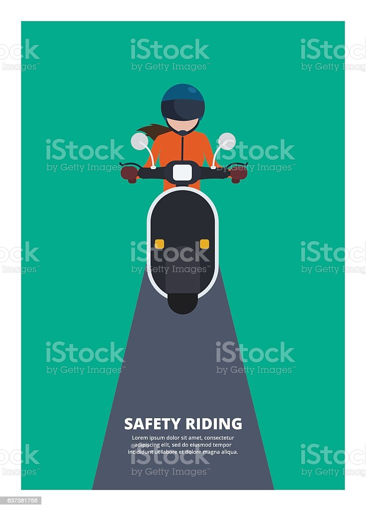 woman riding scooter, safety riding vector art illustration