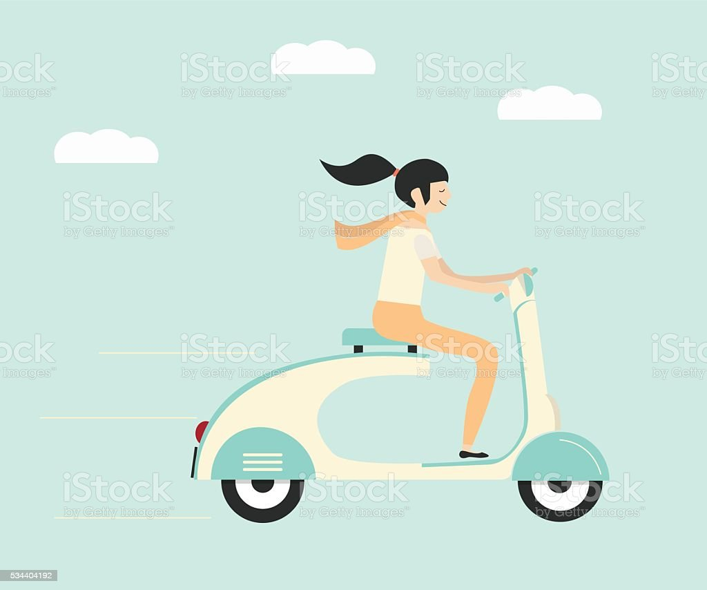 Woman riding scooter vector art illustration