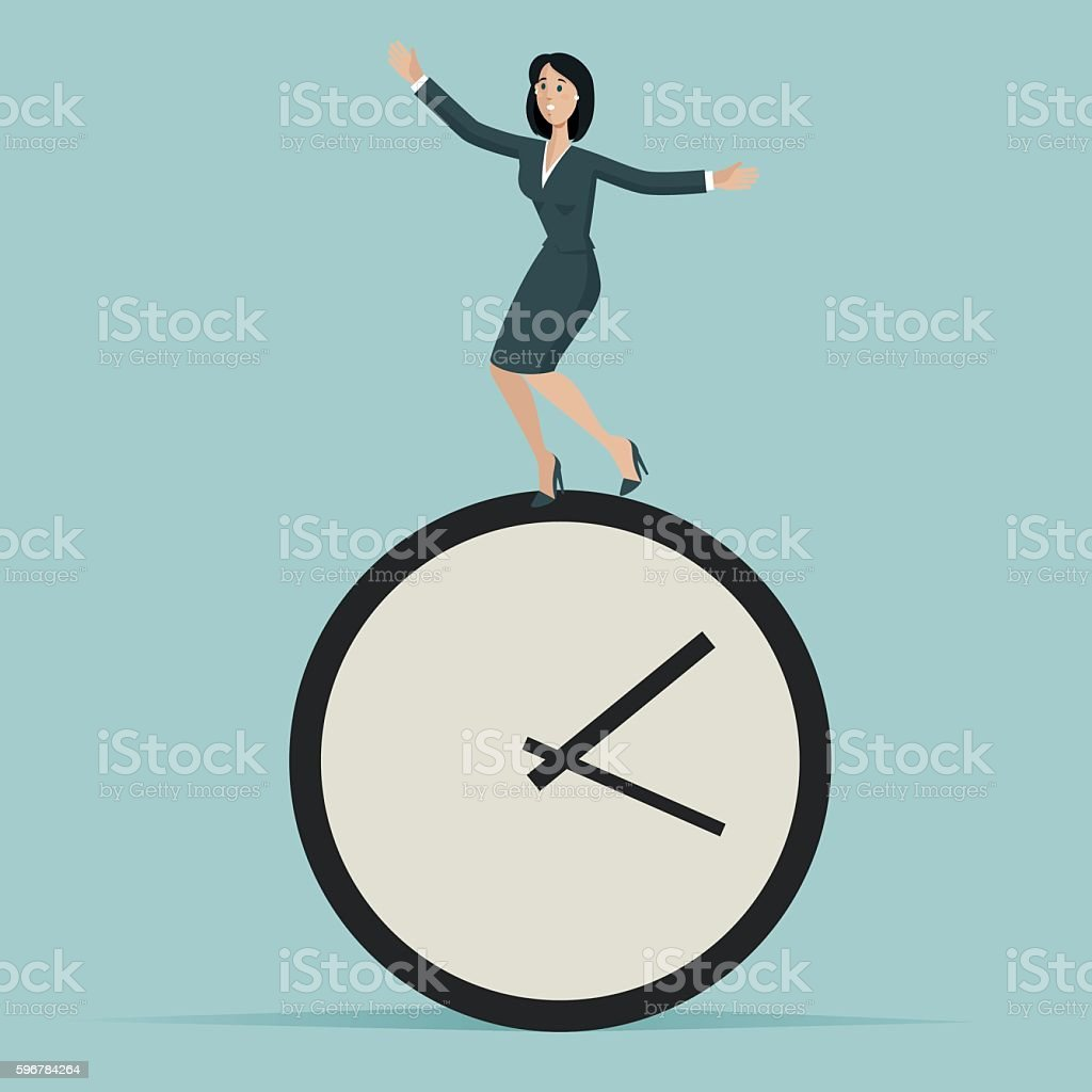 Woman run against the time vector art illustration
