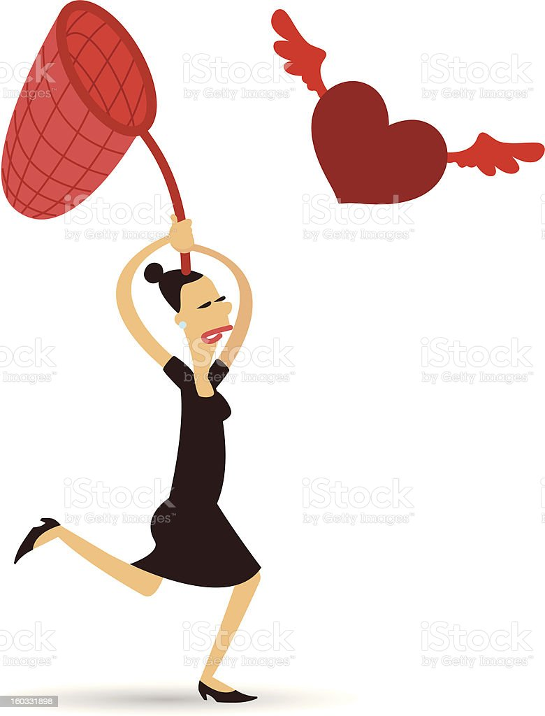 Woman Running after Love royalty-free stock vector art