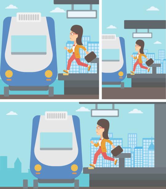 ilustrações de stock, clip art, desenhos animados e ícones de woman running along the platform - young woman running city