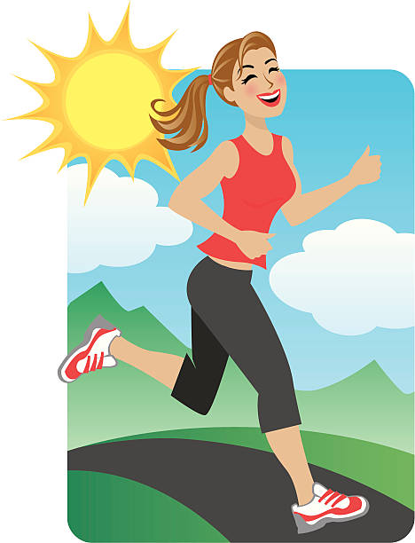 Woman Running in the Park vector art illustration