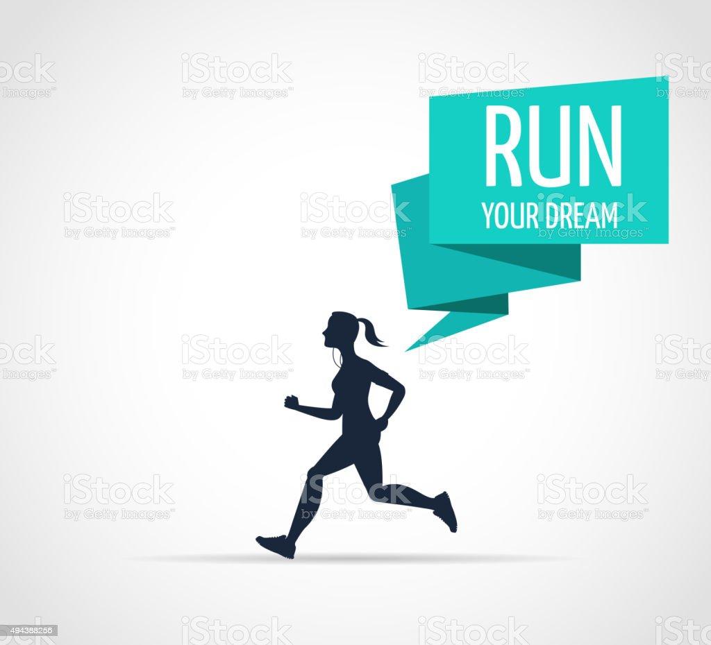 woman running, jogging - infographic vector art illustration