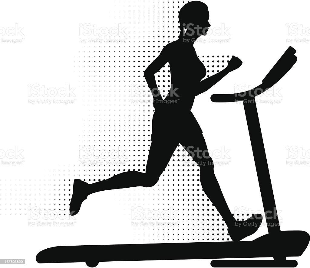Woman Running on a Treadmill vector art illustration