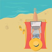 Woman in hat on the beach by the sea is a laptop in social networks sitting on a lounge chair. On a Sunny summer day. Flat vector illustration. The view from the top.