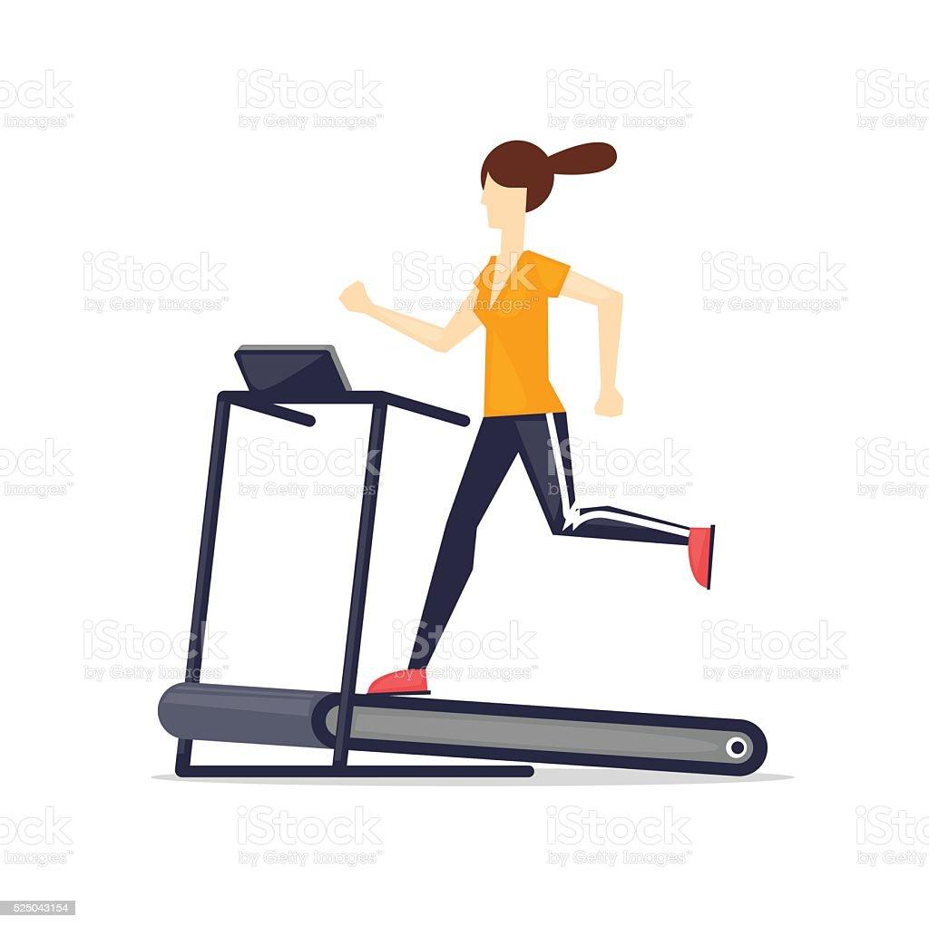 Woman running on treadmill, sport, fitness, athletics, healthy lifestyle. vector art illustration