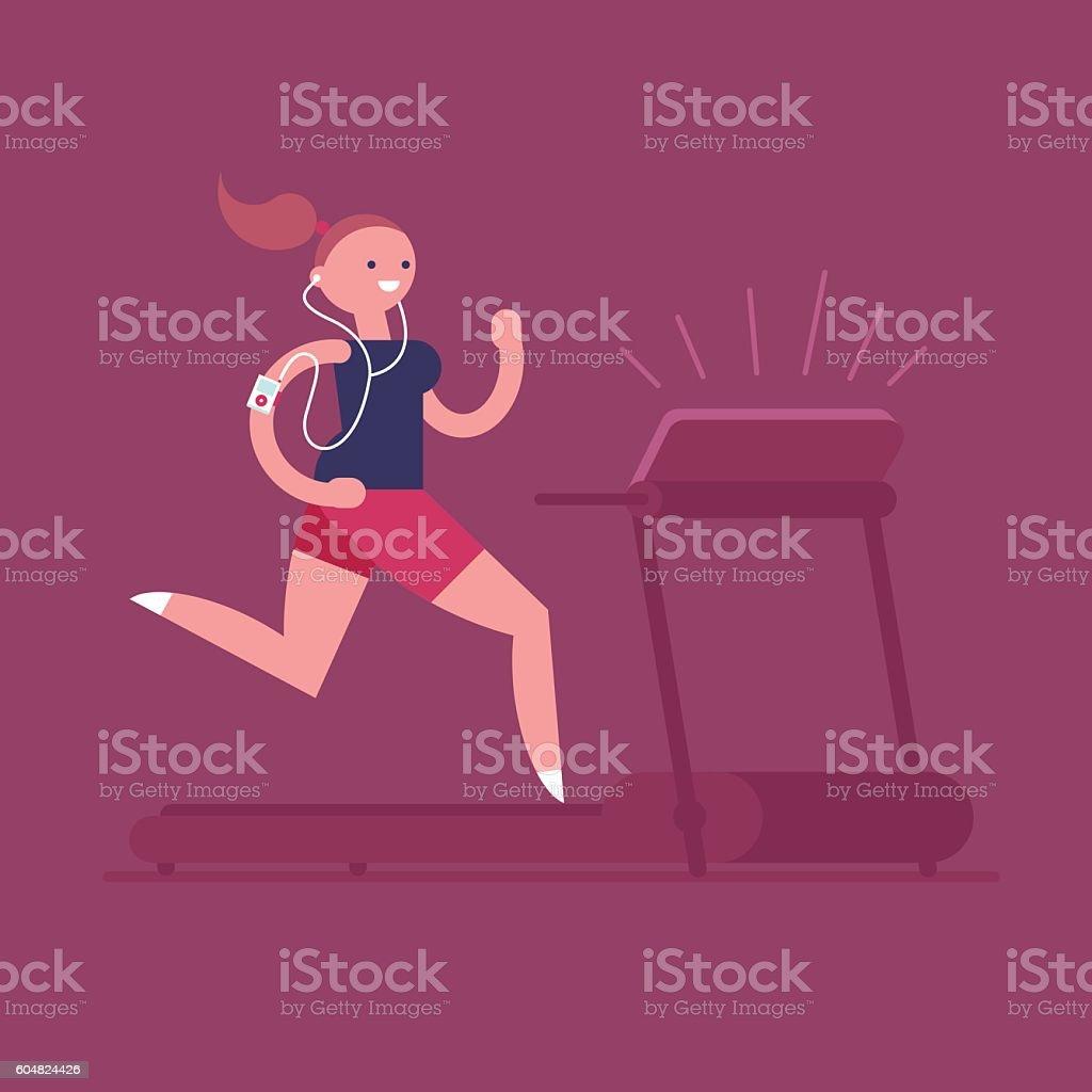 Woman running on treadmill vector art illustration