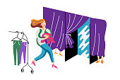 Woman running to fitting room vector illustration