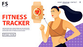 Sport concept with fitness tracker. Woman running with smart watch. Landing page template for a store. Vector flat illustration.