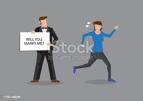 Mujer huye de la ilustración vectorial de dibujos animados de matrimonio