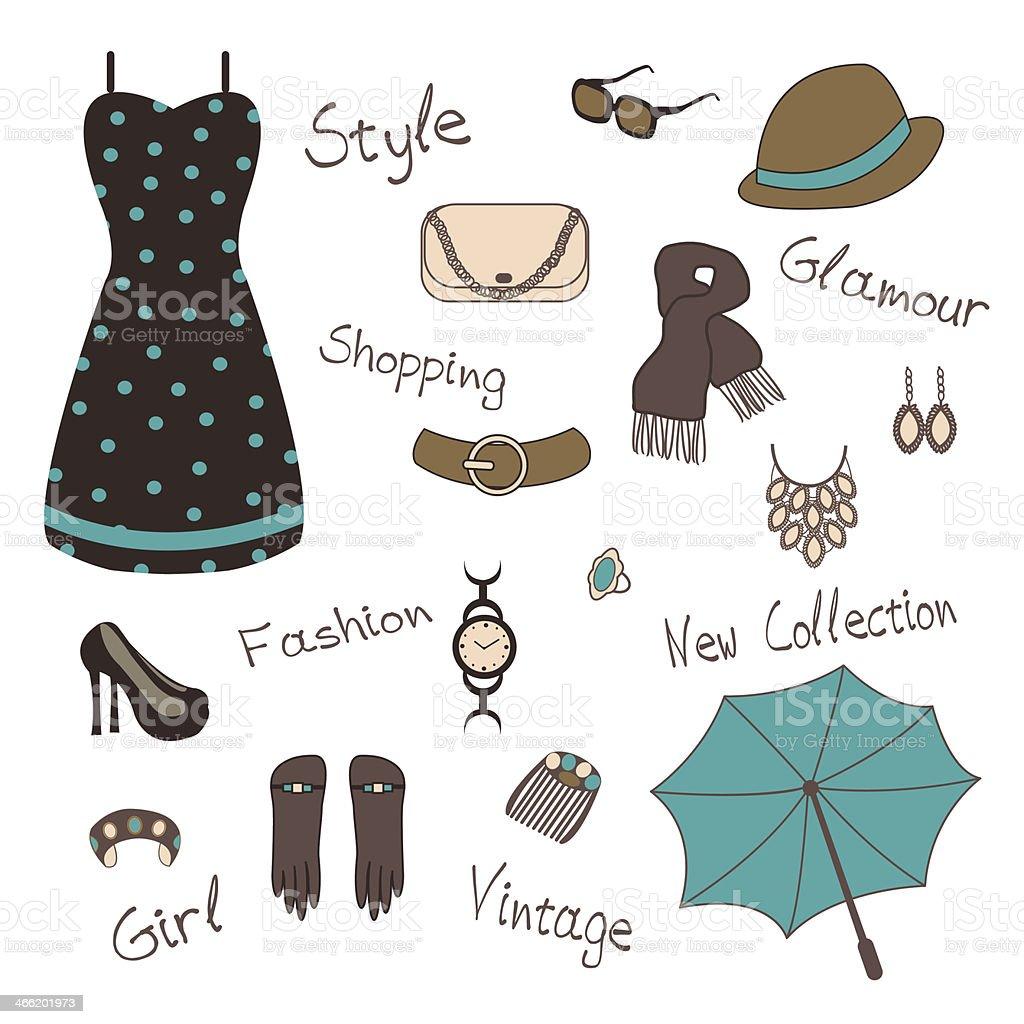 woman` s accessories vector art illustration