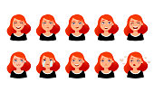 Woman s facial expressions. Cute girl with various emotions vector flat illustration. Ten emotional faces for stickers in cartoon character design isolated on white background.