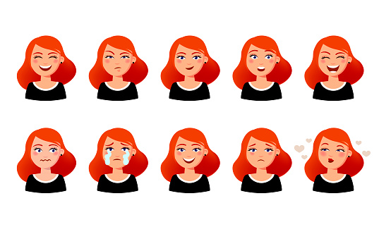Woman S Facial Expressions Cute Girl With Various Emotions Vector Flat Illustration Ten Emotional Faces For Stickers In Cartoon Character Design Isolated On White Background Stock Illustration - Download Image Now